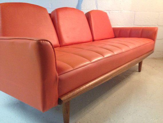Mid Century Modern Orange Tufted Vinyl Sofa Mid Century Sofa