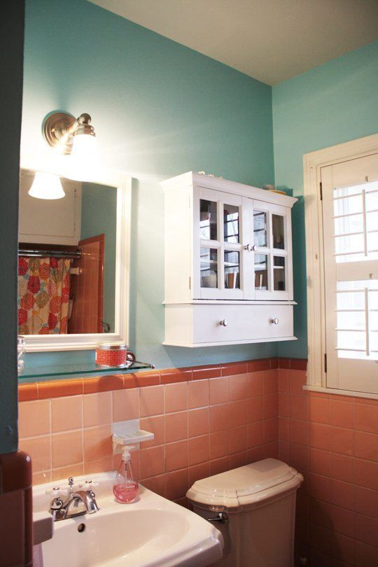 Painting Bathroom Tiles And Baths how to tone down (or play up!) pink vintage bathroom tile