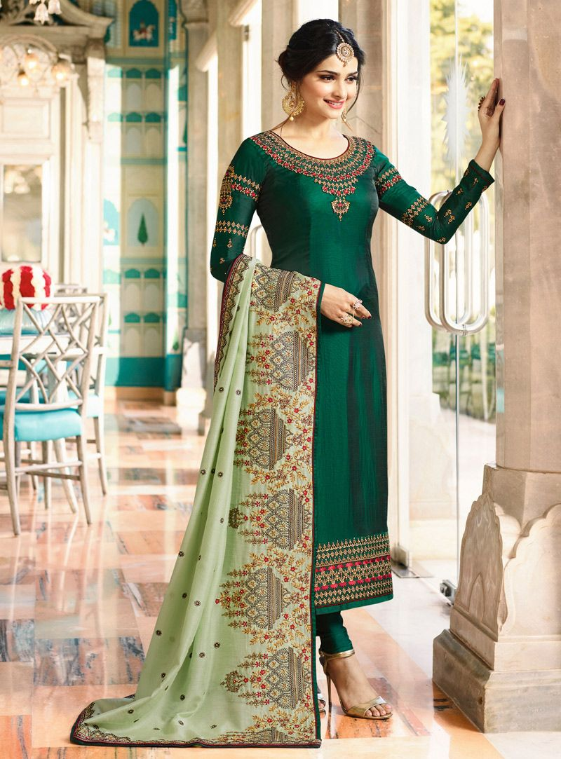 fc943b273f Buy Prachi Desai Green Silk Kameez With Churidar 127507 online at lowest  price from vast collection at m.indianclothstore.c.