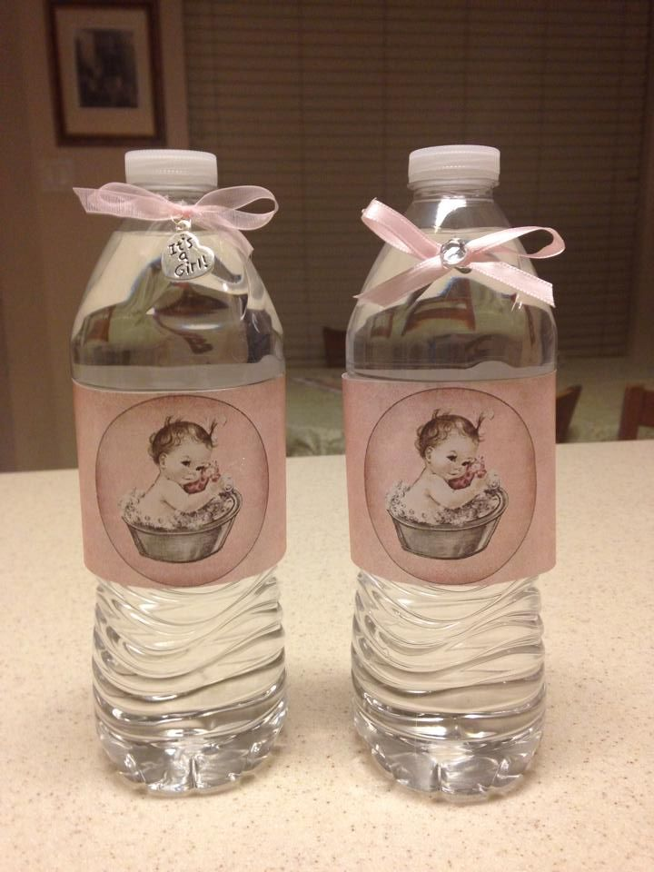 Pink Baby in a Tub Water Bottle Labels   Carmen\'s Fun Creations ...