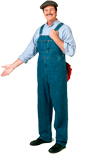 When I hire a professional plumber, I expect to see someone who's wearing overalls like this.  I actually do need to look into having a plumbing professional come out and change out some of the p-traps in my home.  I think they're clogged.  I just don't have the time to do it myself.