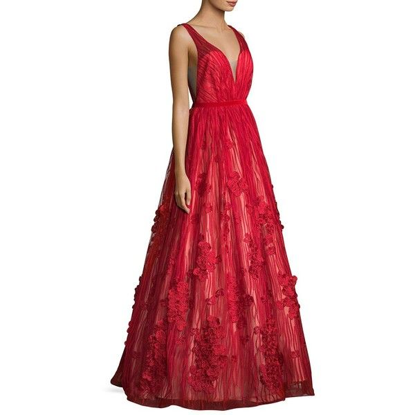 7a80de9b511f Basix Black Label Deep V-Back Floor-Length Gown ($525) ❤ liked on Polyvore  featuring dresses, gowns, red dress, floral ball gown, red sleeveless dress,  ...