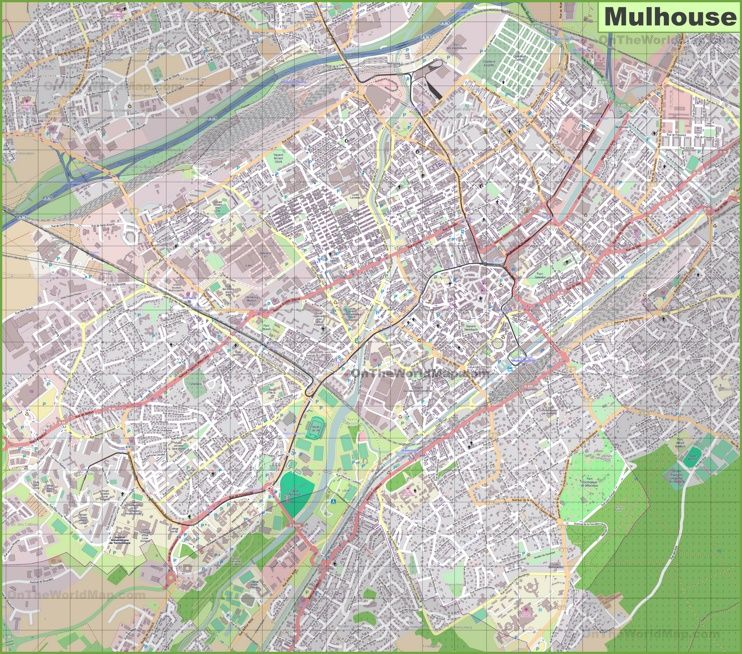 Large detailed map of Mulhouse Maps Pinterest France and City