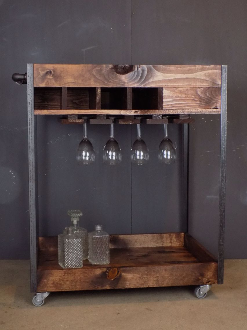 Reclaimed Industrial Bar Cart Made Of Pine Steel And