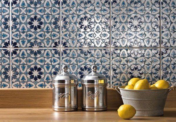 Kitchen backsplash ideas Moroccan blue white backsplash tiles | My ...
