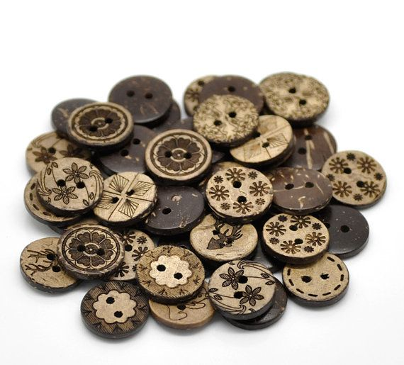 5 25 mm Wooden Coffee Buttons 4 Hole Flatback Sewing Craft UK SELLER Knitting