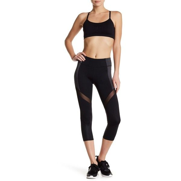 Betsey Johnson Wrap Around Mesh Colorblock Cropped Legging ($29) ❤ liked on Polyvore featuring betsey johnson