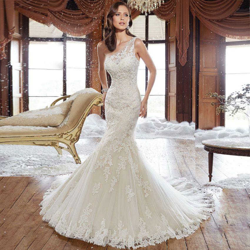 Click to Buy << Robe De Mariage Sexy One Shoulder Wedding Dresses ...