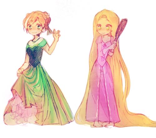 Rapunzel and Anna form Frozen