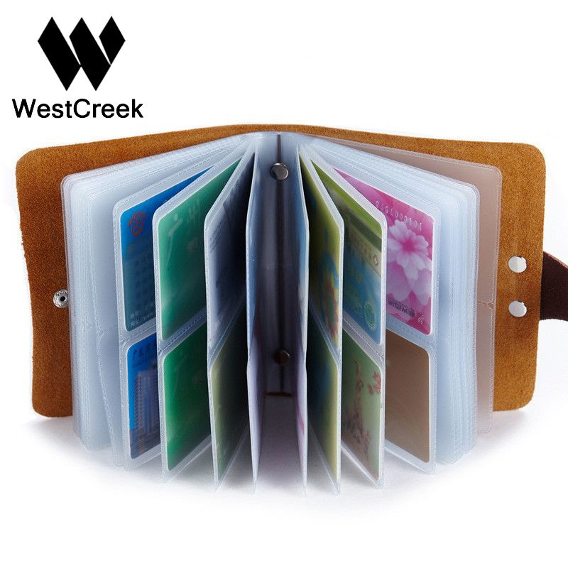 60 Slots Women Men Credit Card Holder Leather Buckle Large Capacity ...