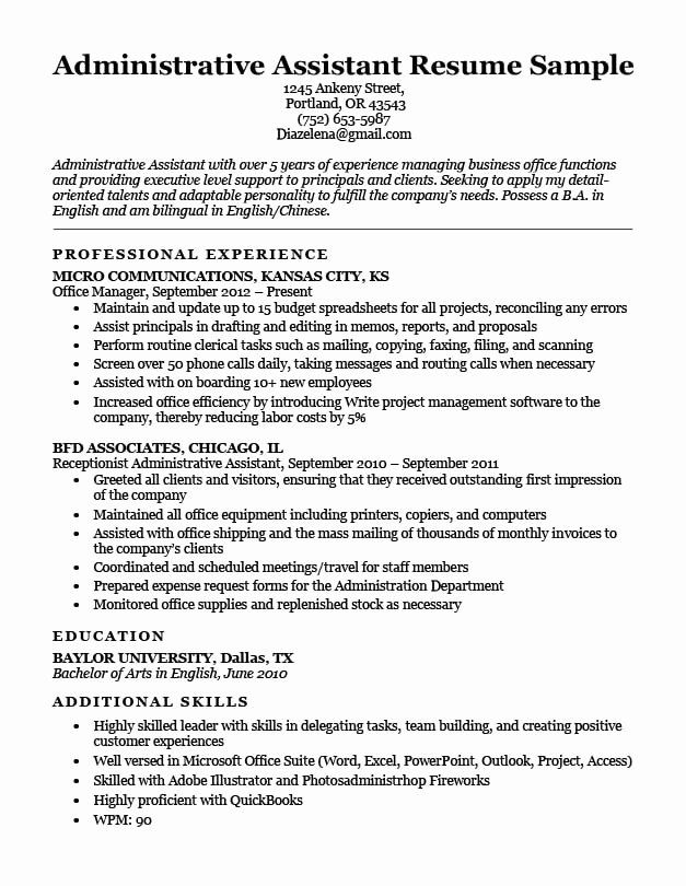 Resume Summary Examples for Administrative assistants Be