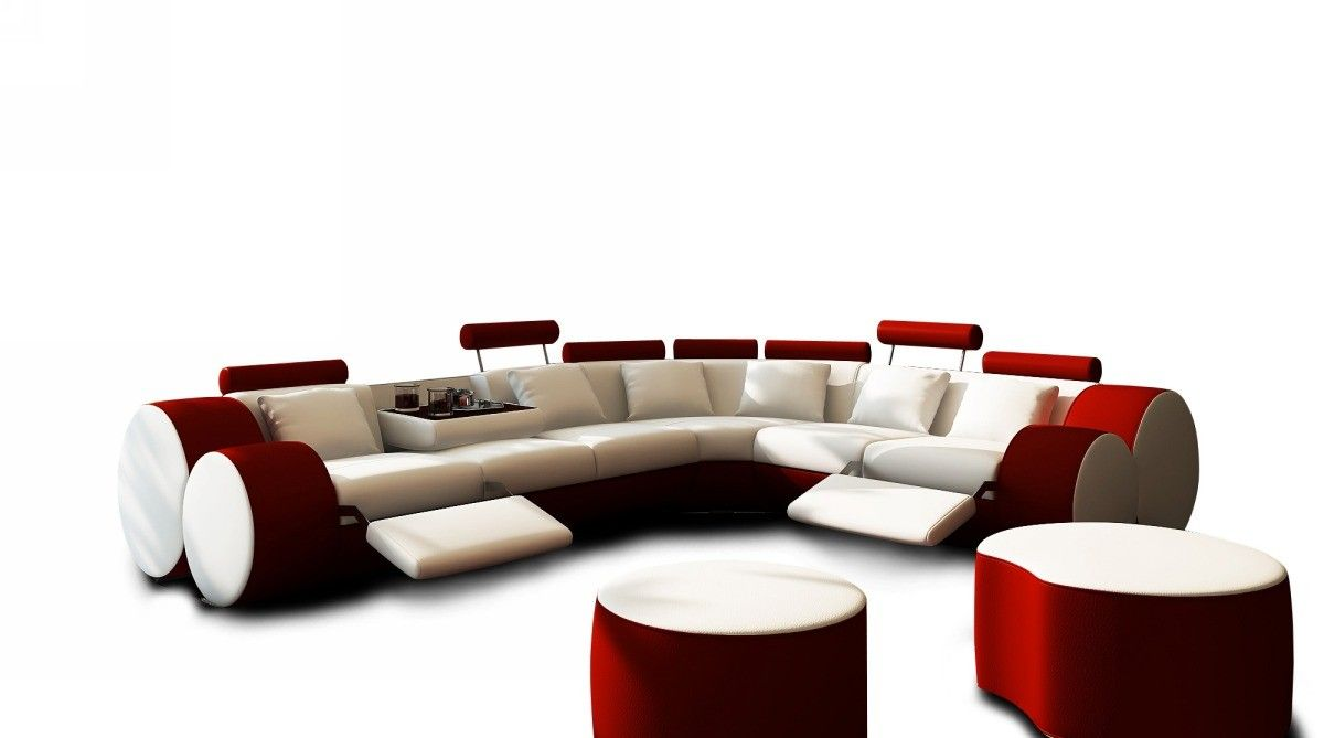 Beautiful 3087 Modern White And Red Leather Sectional Sofa And Coffee Table | Leather  Sectional Sofas, Leather Sectional And Sofa Furniture