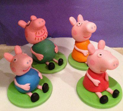 Peppa Pig Inspired Fondant Cake Toppers 21 99 Via Etsy Cake