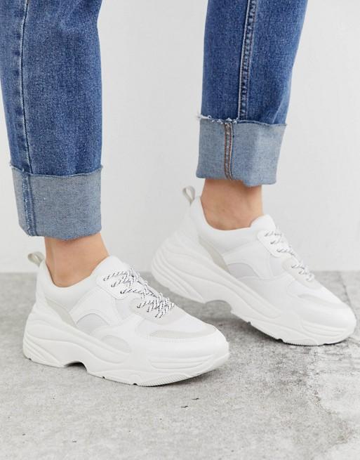 Stradivarius chunky sneakers in white