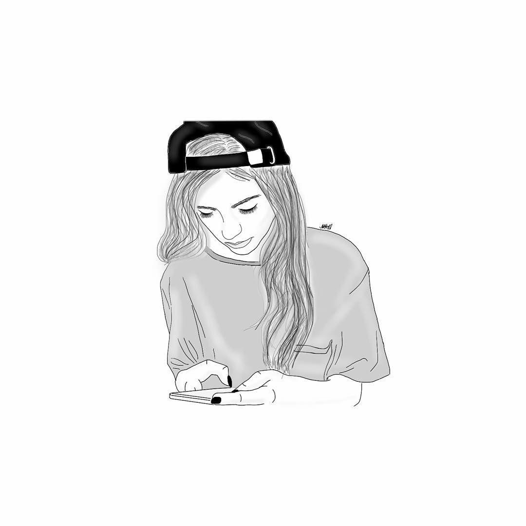 Outlines Tumblr Girl Outline Drawings Illustration