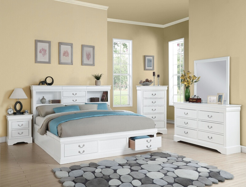 Acme 24490q 5 Pc Louis Phillipe Iii White Finish Wood Storage Headboard Underbed Drawers Queen Bedroom Set Grey Bedroom Furniture 5 Piece Bedroom Set Queen Bedroom