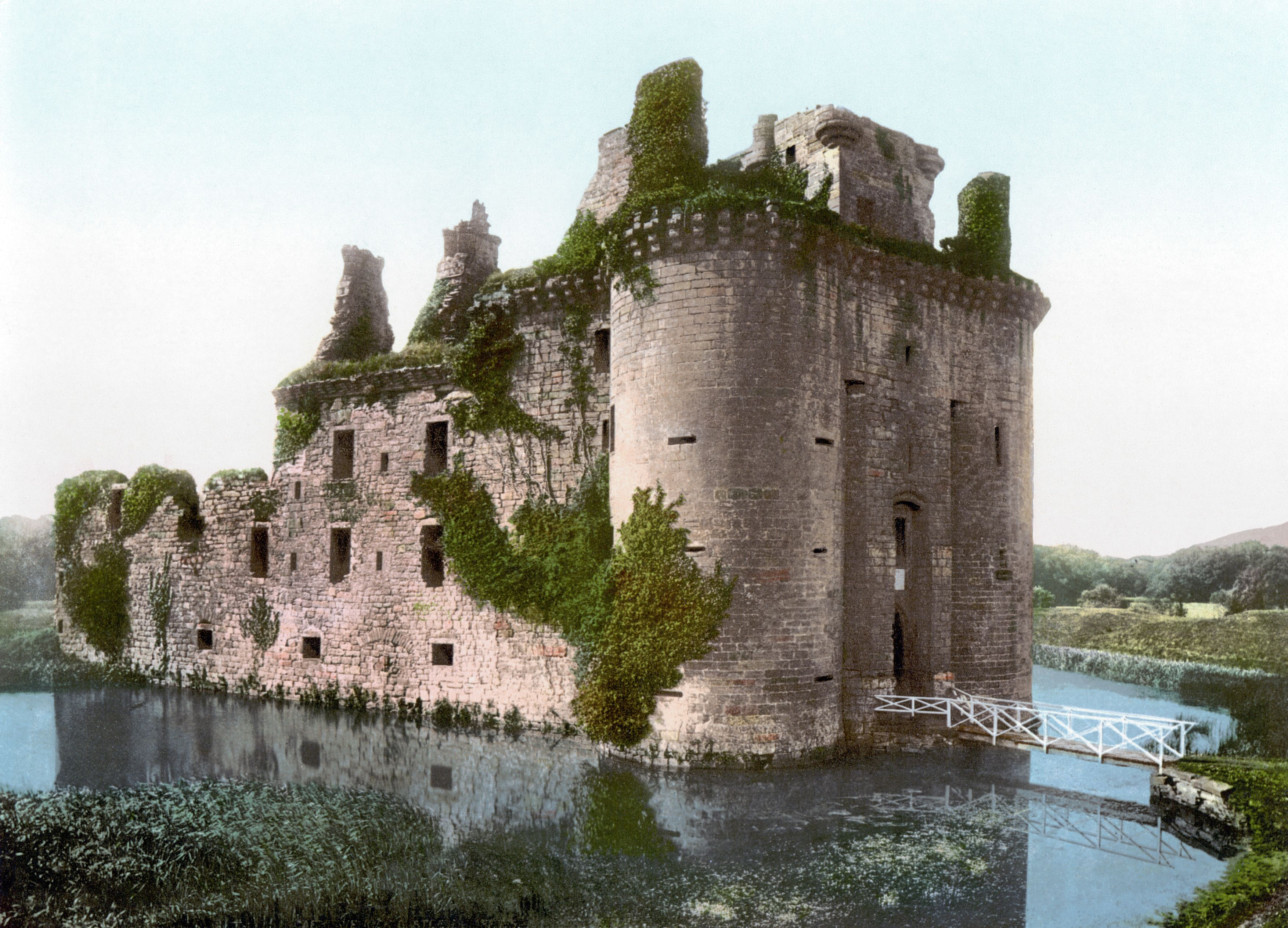 Caerlaverock Castle Is A Moated Triangular Castle First Built In The