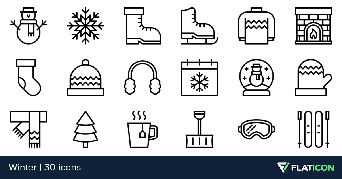30 Premium Vector Icons Of Winter Designed By Nawicon Icon Set Design Winter Design Icon