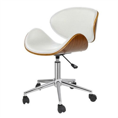 White Home Office Mid Century Modern Classic Mid Back Desk Chair
