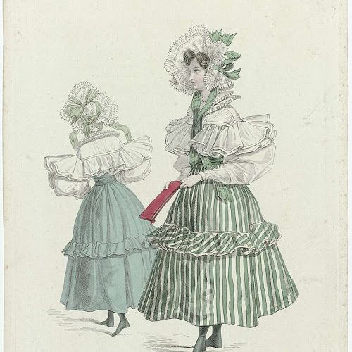 Fashion from Vienna. Blouse with double collar and pleated leg of mutton sleeves. Wide striped skirt. Hat with flower pattern and striped ribbons. Boots with square toes. Album in the hands. Print out the fashion magazine La Modee, 1830, Pl. 78
