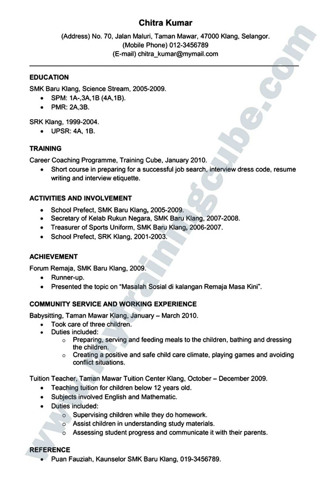resume bahasa melayu pdf federal sample cover letter examples