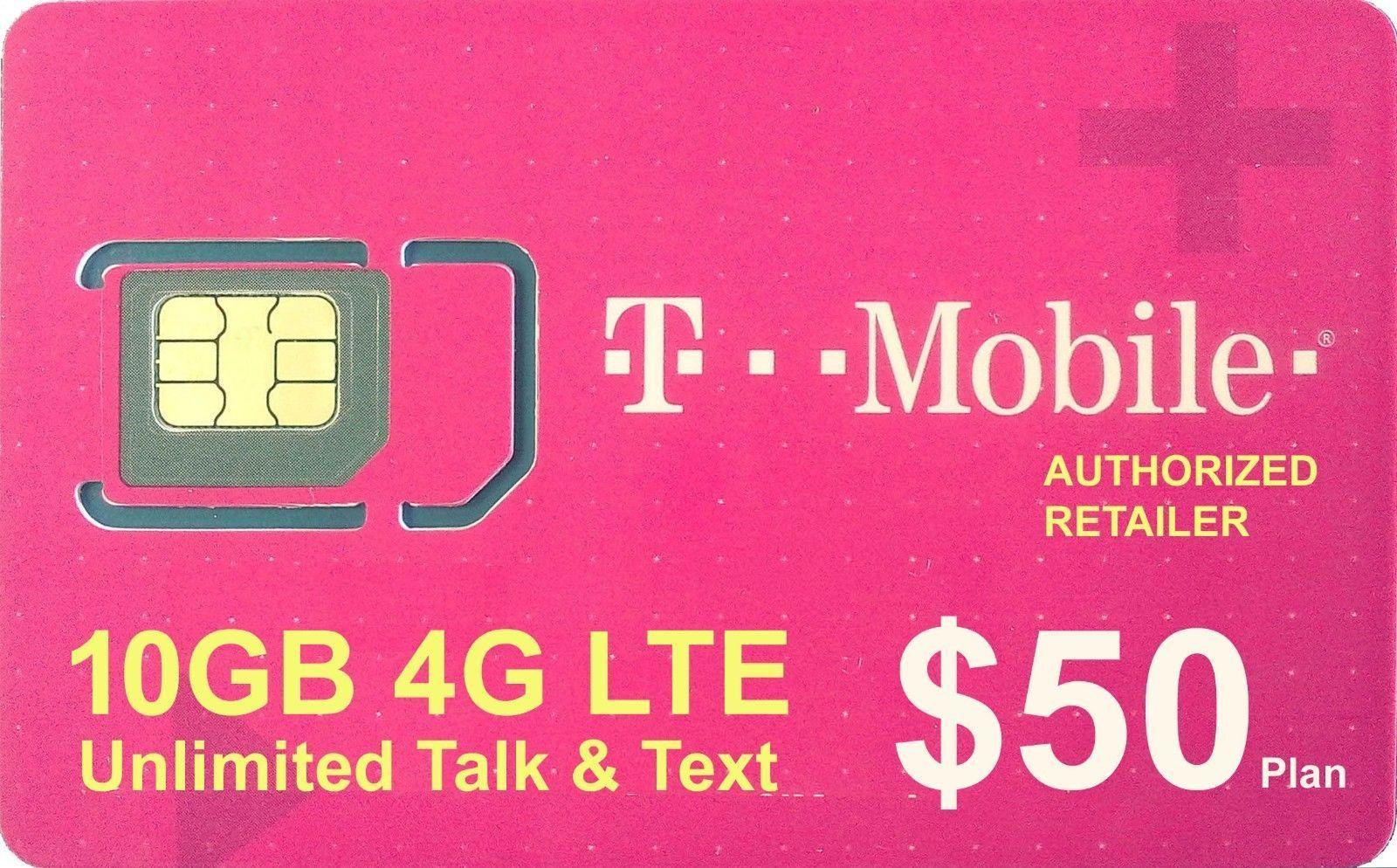 Preloaded tmobile sim card with prepaid plan 40 10gb 4g