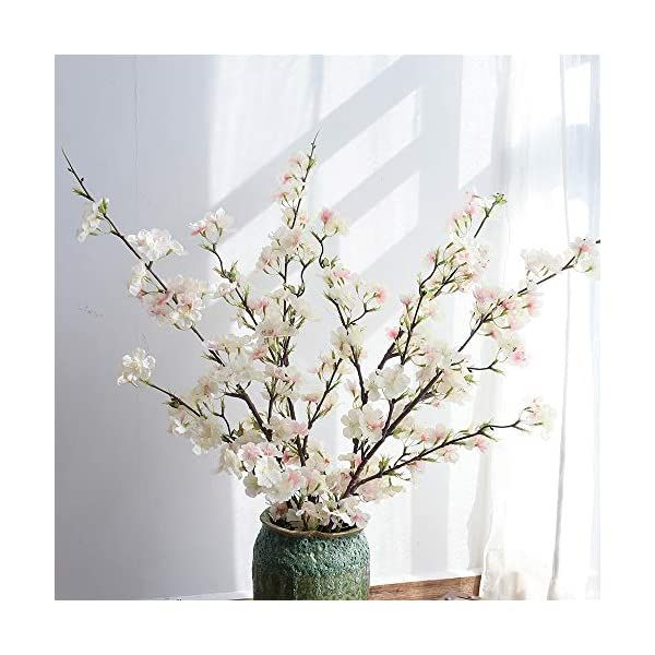 Yuyao Artificial Cherry Blossom Flowers 4pcs Peach Branches Silk Tall Fake Flower Arrangements For Home Wedding Decoration 41inch Light Pink In 2020 Fake Flower Arrangements Artificial Cherry Blossom Tree Fake Flowers Decor