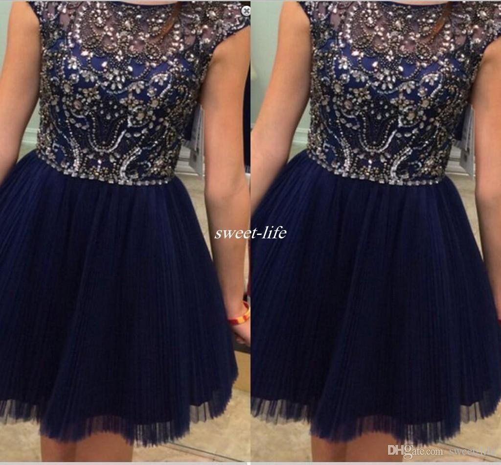 Navy Blue Crystal Homecoming Dresses Sheer Bateau Neck Sleeveless ...