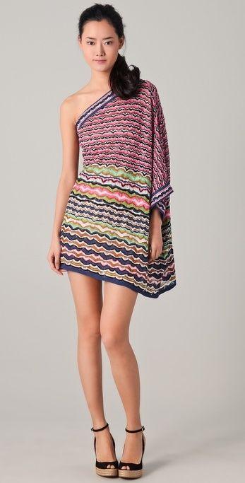 M Missoni Lace Stripe One Shoulder Dress thestylecure.com