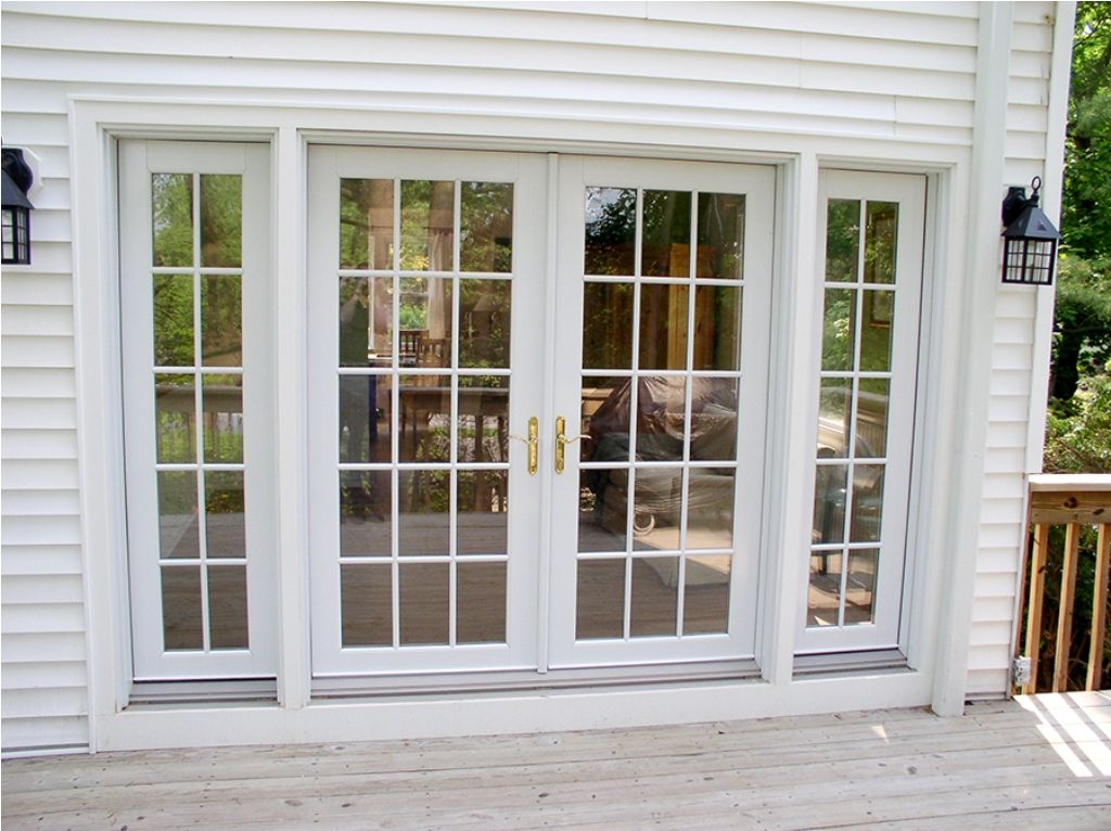 French doors with sidelights and blinds between glasses for Front entry decks