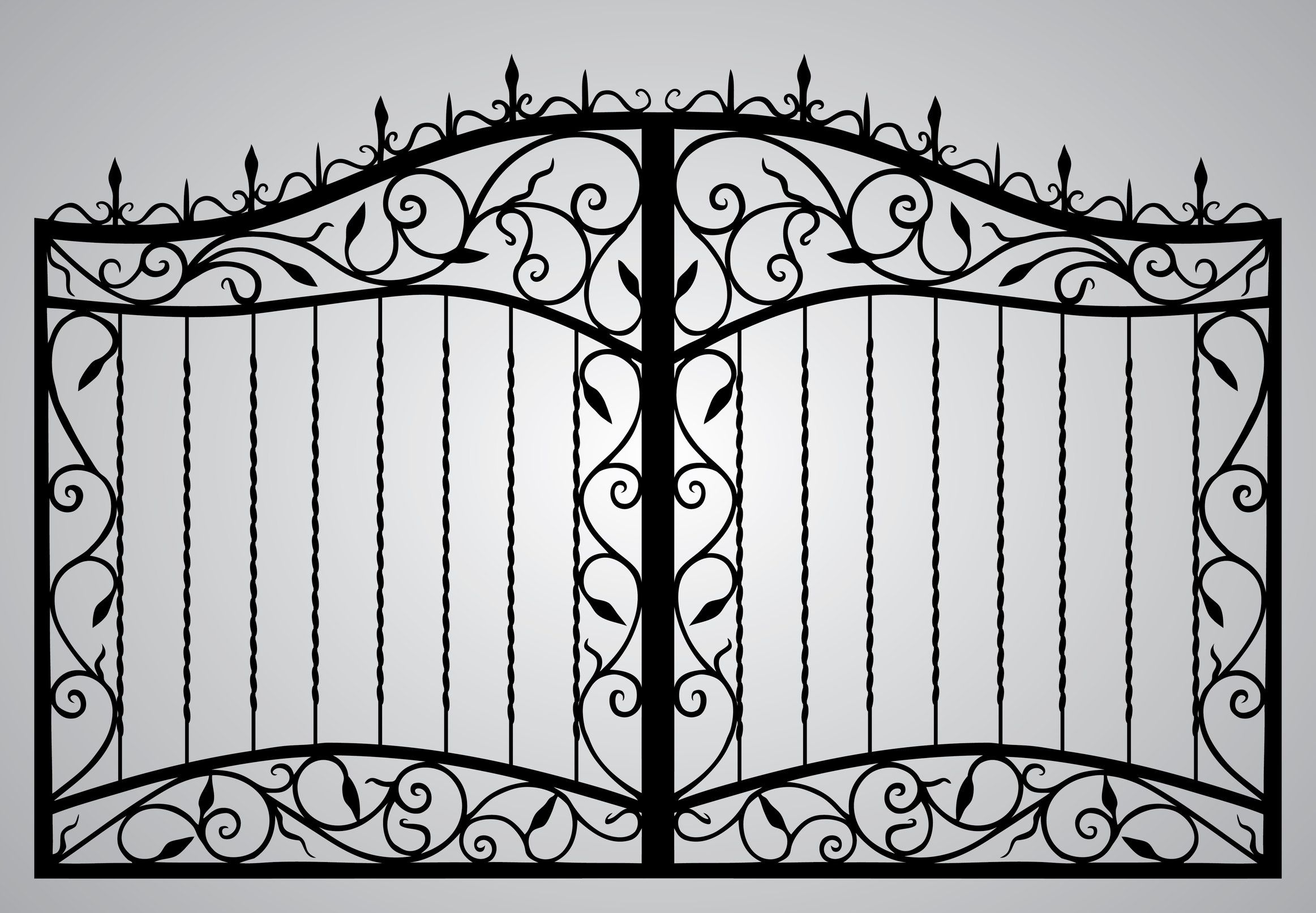 Enchanting Rod Iron Fence With Chic Ornament For Outdoor Design Interesting Rod Iron Fence Design And Gate For Fron Wrought Iron Gates Fence Design Iron Gates