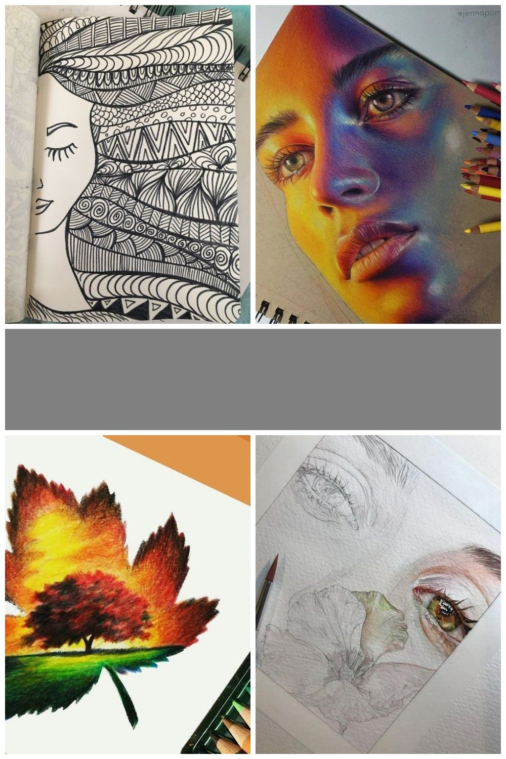 Pencil Colour Drawing Ideas Colorful Drawings Portrait Drawing Landscape Drawing Easy