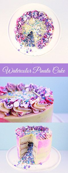Photo of Water Color Buttercream Cake with Sprinkles
