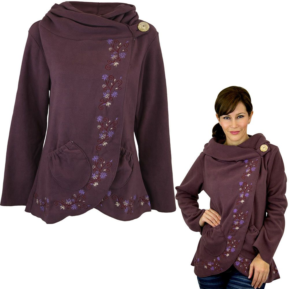 wrap fleece jackets | Flowering Vines Fleece Wrap Jacket - Plum ...