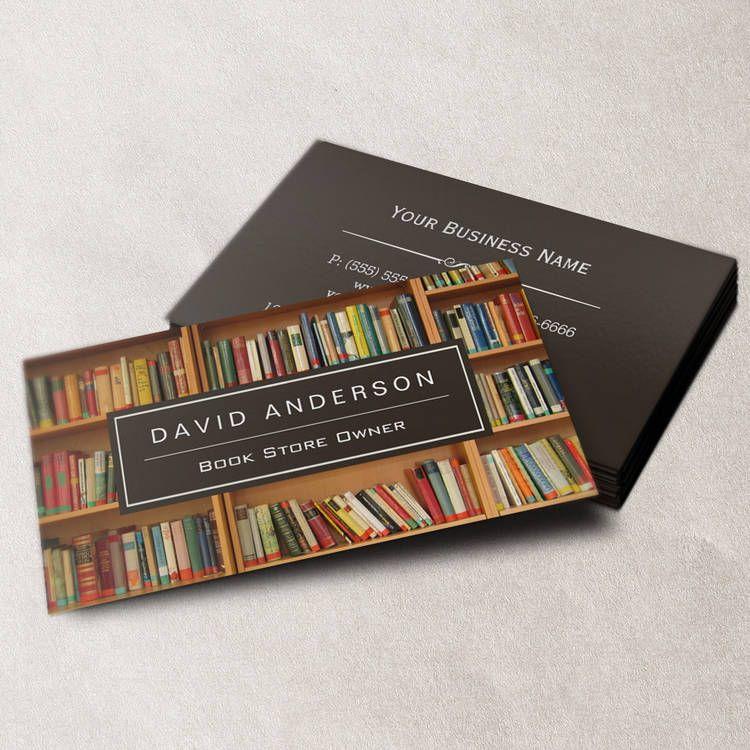 Elegant Bookstore Book Store Owner Bookshelf Business Cards ...