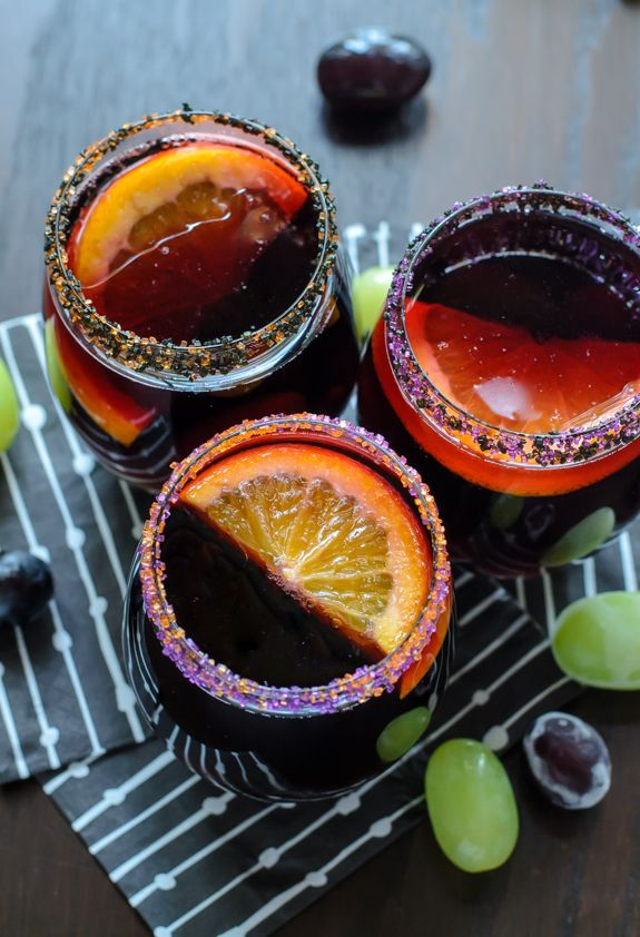 Halloween Recipes for the Classiest Party on the Block Sangria - frozen halloween decorations