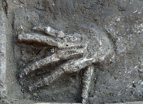Egypt: Archaeologists excavating a palace in the ancient city of Avaris have dug up four pits containing 16 large right hands believed to have been sliced from the arms of vanquished enemies. Read more about this discovery at http://www.dailymail.co.uk/news/article-2186810/Discovery-16-buried-hands-Egypt-provides-physical-evidence-gruesome-practice-used-ancient-warriors.html#
