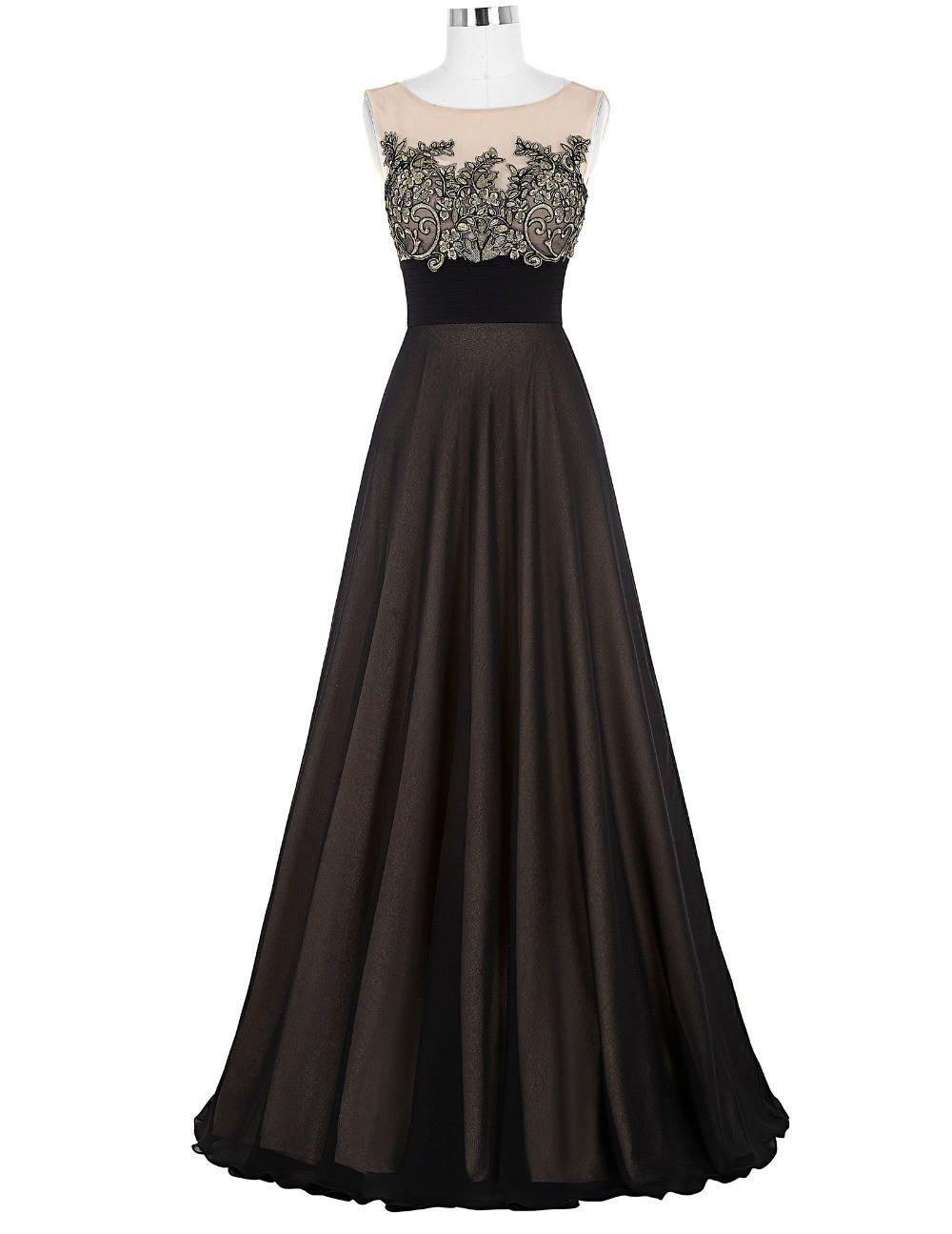 Prom dresses crew neck pleated waist appliques formal promdress