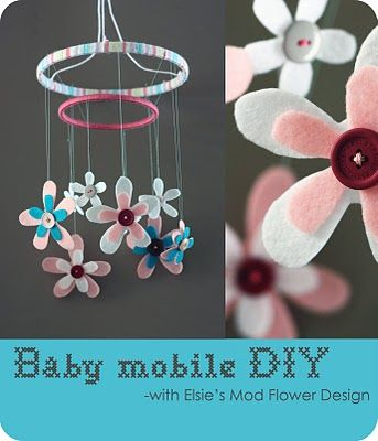 "DIY Baby Mobile  2 inside rings of embroidery hoops - I used a 5"" and a 9"".  yarn  various buttons  disappearing ink pen for tracing (not necessary)  felt  needle & thread  Elsie's Mod Flower download"