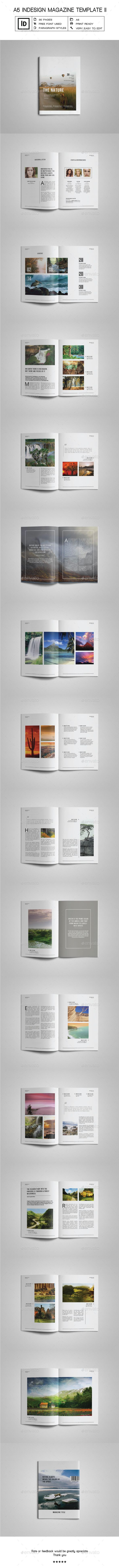 A5 Indesign Magazine Template II | Indesign magazine templates ...