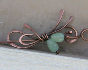 """Shawl pin, scarf pin, hair slide, hair barrette in copper and mint green quartz, brooch """"Tiny bouquet"""""""