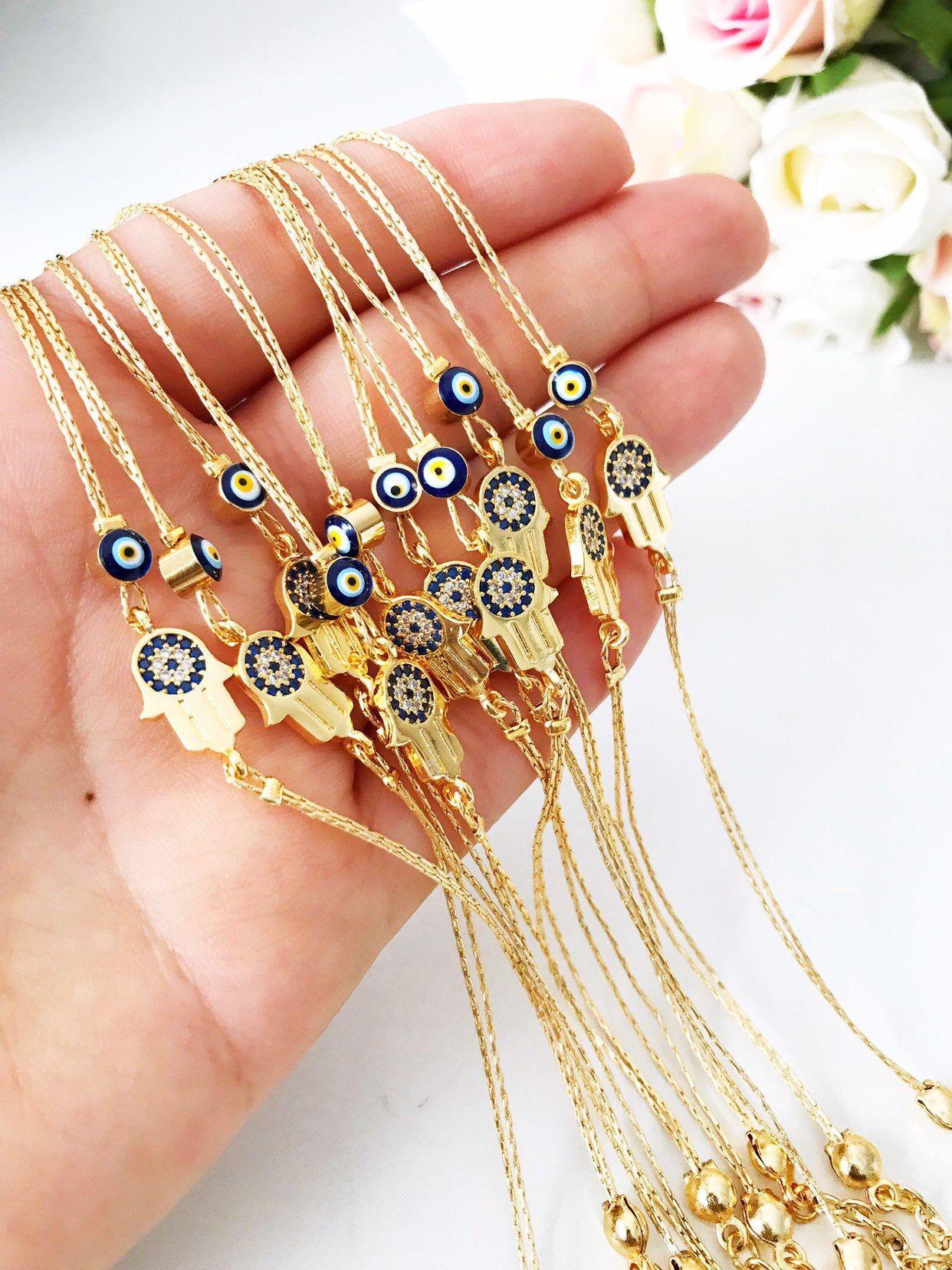 Evil Eye Bracelet Gold Hamsa Charm Bracelet Evil Eye Beads Etsy Evil Eye Bracelet Evil Eye Jewelry Eye Jewelry