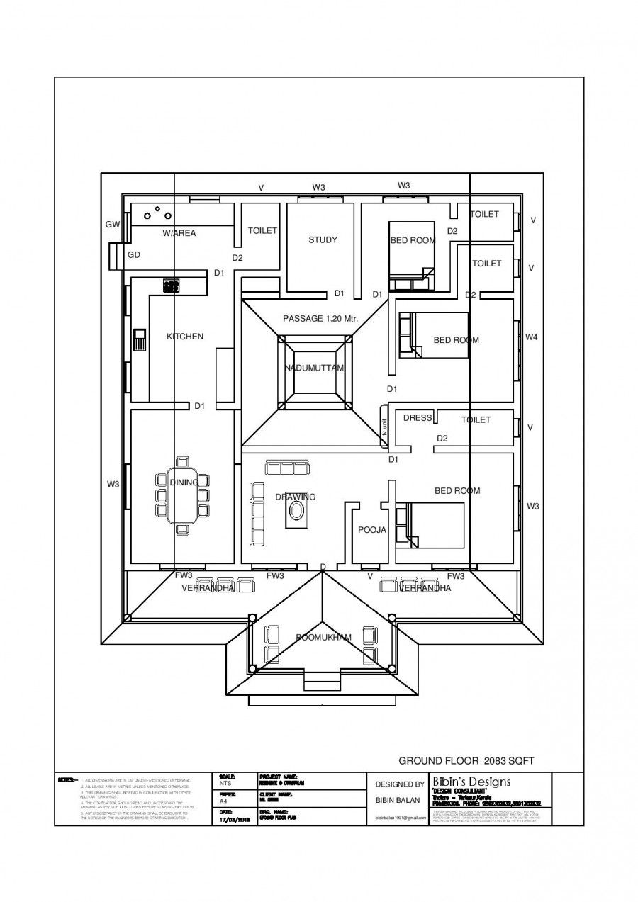 Delightful Free Kerala House Plan 2337 Sq Ft 3 Bedroom Traditional Style