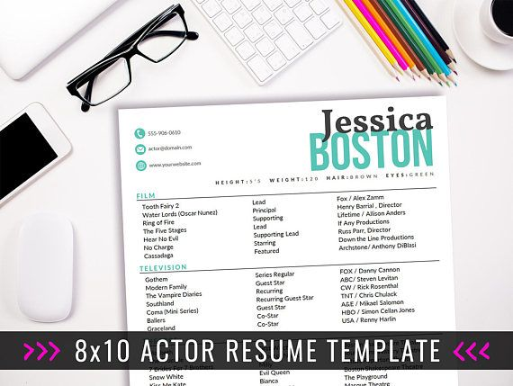 Actor Resume Template   8 x 10 Acting Resume   Instant Digital - examples of acting resumes