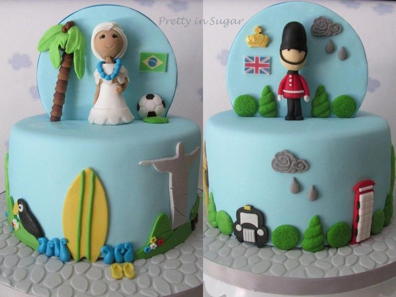 Double sided cake. A tale between two countries. Good luck Cleo!| Bolo de dupla face. Um conto entre dois países. Felicidades Cleo!