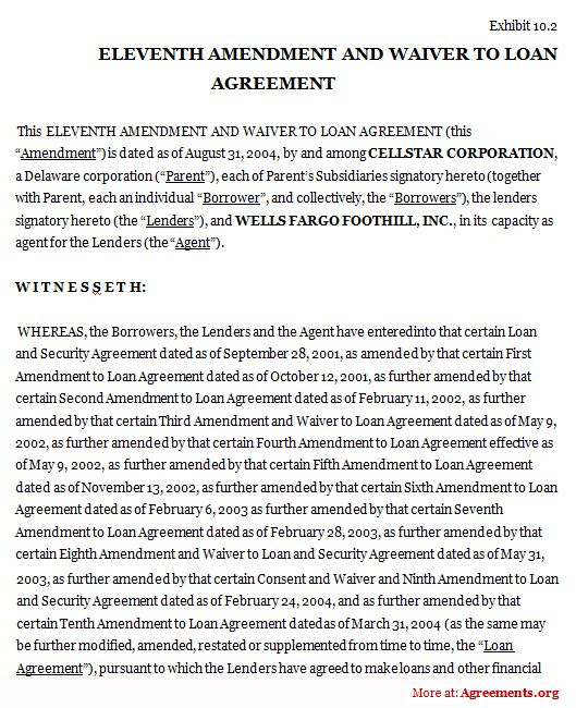 Eleventh Amendment And Waiver To Loan Agreement Legal Agreements