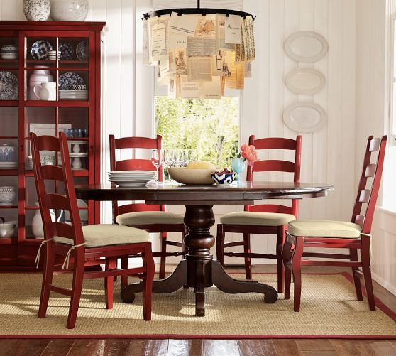 Wynn Ladderback Chair In Red Pottery Barn Black Pedestal Table Dining Chairs Red Painted Furniture Furniture