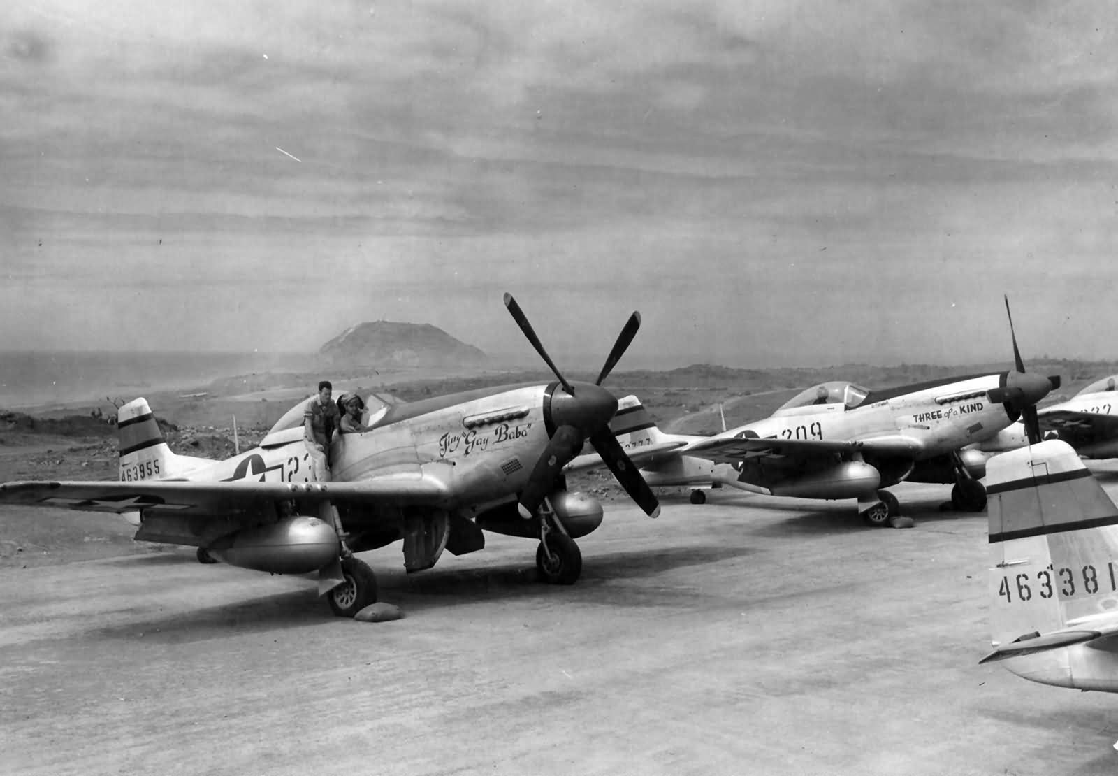 """P-51D Mustang #44-63955 """"Tiny gay Baba"""" of the 46th FS 21st Fighter Group Iwo Jima 1945."""