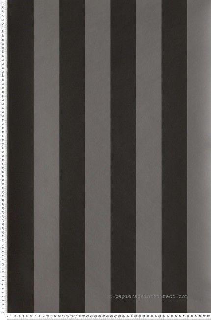 Rayures Larges Bicolores Gris Souris et Noir - papier peint Lutèce