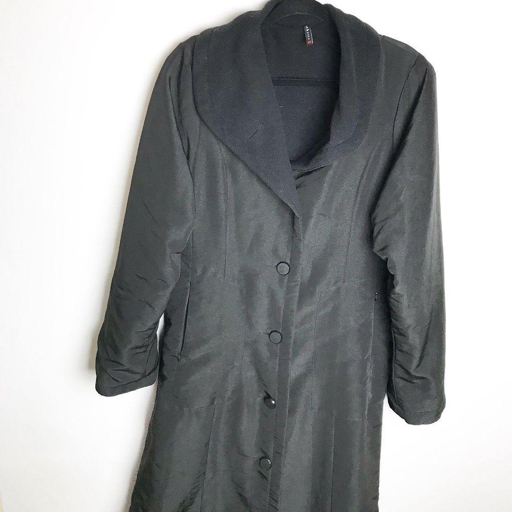 Babette San Francisco Long Button Down Coat Solid Black Medium